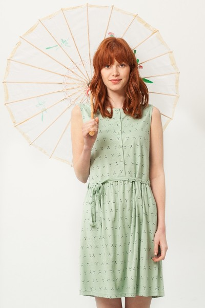 Petra belt dress in mint green and abstract print