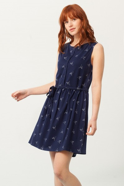 Petra belt dress in navy blue and origami print