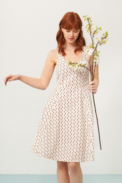 Prunella cross back dress in cream and abstract print