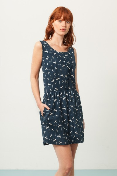 Padme back neckline dress in navy blue and dragonflies print