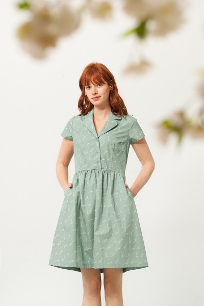 Pamela shirt collar dress in green and bambu print
