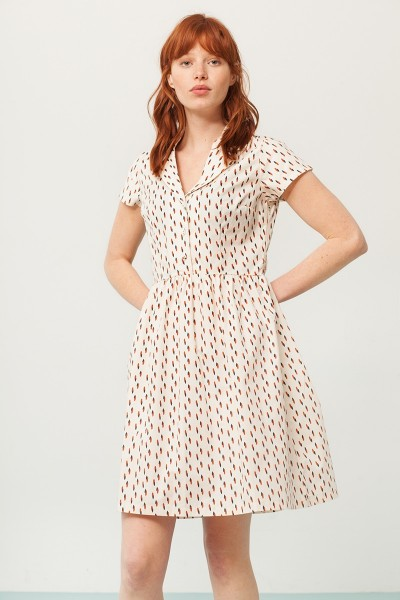 Pamela shirt collar dress in cream and abstract print