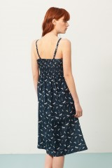 Vestido Prya tirantes azul marino estampado libélulas