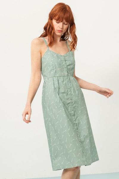 Prya strapless dress ingreen and bambu print
