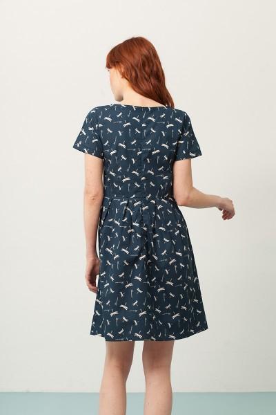 Vestido Piola manga corta azul marino estampado libélulas