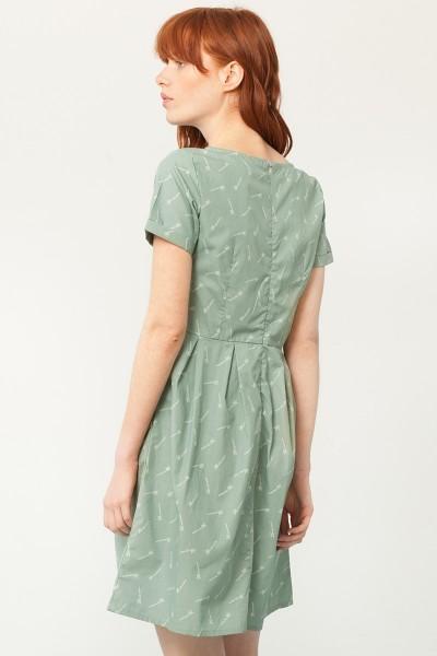 Vestido Piola manga corta verde estampado bambú