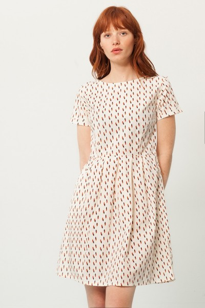 Piola short sleeve dress in cream and anstract print