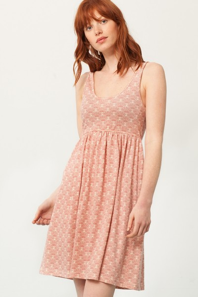 Pixi empire line dress in in salmon and japanese fan print