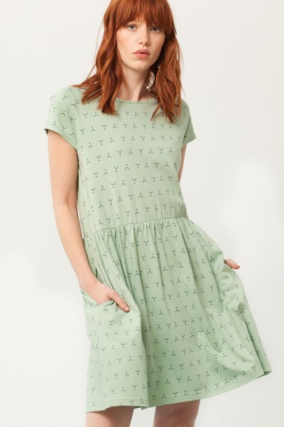 Paris oversized back neckline dress in mint green and abstract print