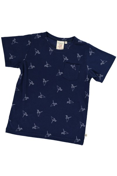 Organic unisex t-shirt in navy blue and origami print