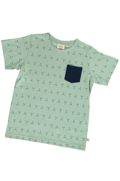Organic unisex t-shirt in mint green and abstract print