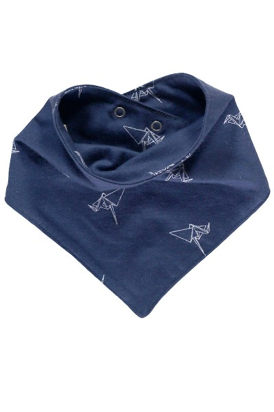 Bib in Navy blue and origami print