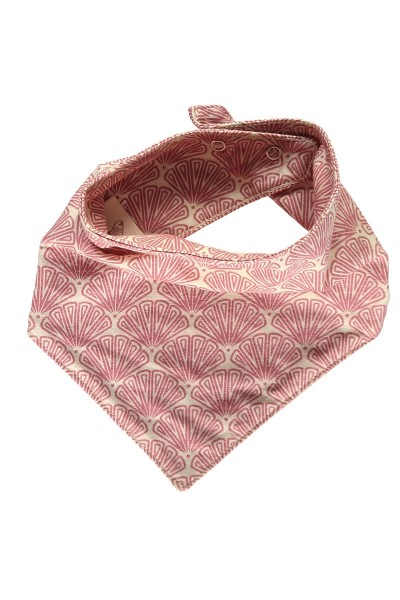 Bib in salmon and japanese fan print