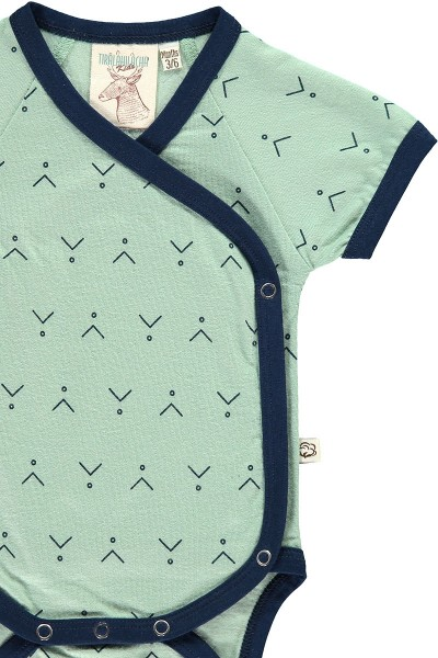 Body kimono verde menta estampado abstracto