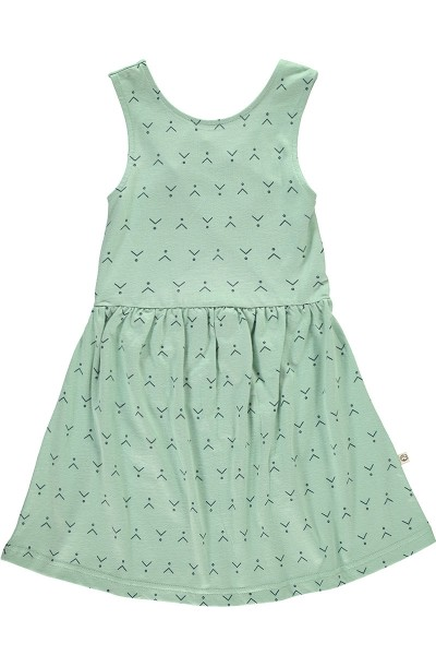 Organic cross back dress in mint green and abstract print
