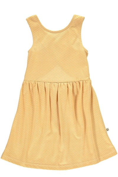 Organic cross back dress in in honey yellow and japanese print