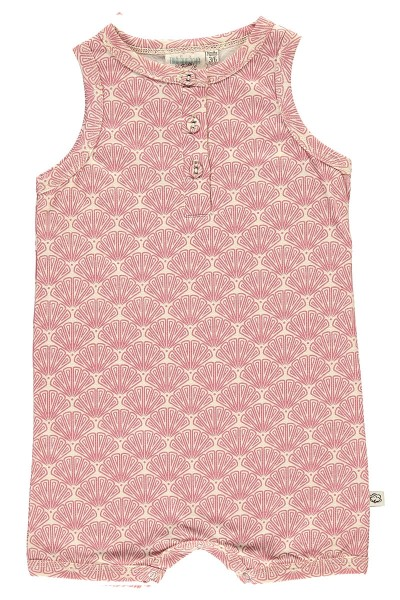 Organic baby jampsuit in salmon and japanese fan print