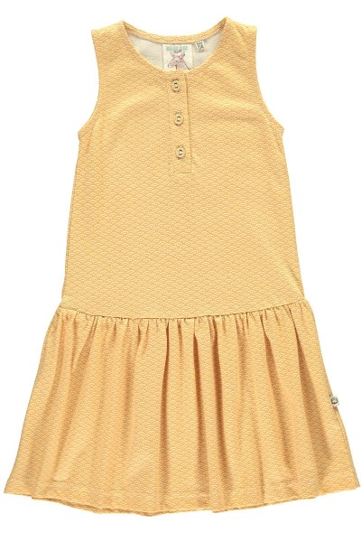 Organic charleston dress in honey yellow and japanese print