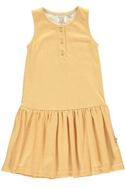 Organic charleston dress in honey yellow and japanese print