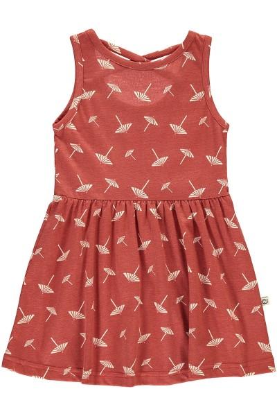 Organic Strapless dress in terracotta and umbrella print