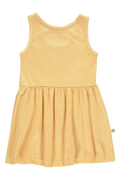 Organic Strapless dress in in honey yellow and japanese print