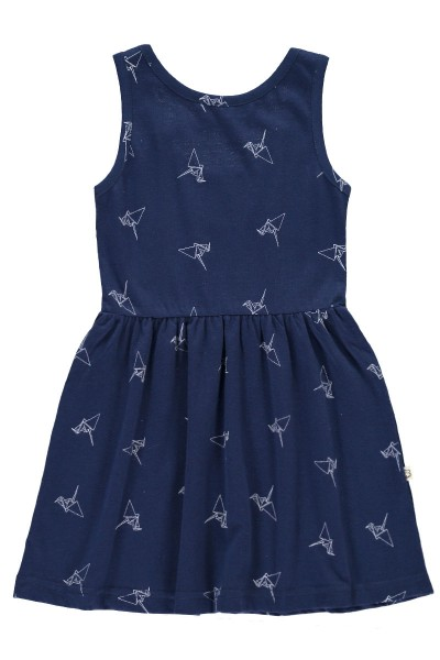 Organic Strapless dress in navy blue and origami print