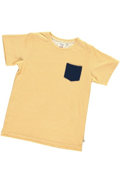 Organic unisex t-shir in honey yellow and japanese print