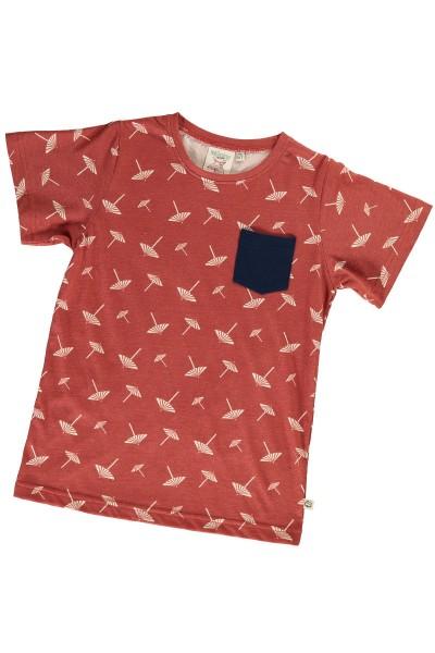 Camiseta unisex terracota estampado sombrillas