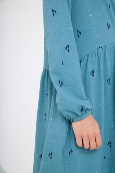 Vestido Ciel oversize cuello redondo azul ópalo.