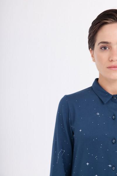 Vestido camisero Carla azul marino estampado constelaciones.