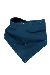 Reversible Bib in navy blue and constallations print