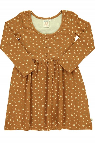 "Mustard ""Classic"" dress with moon phases print"