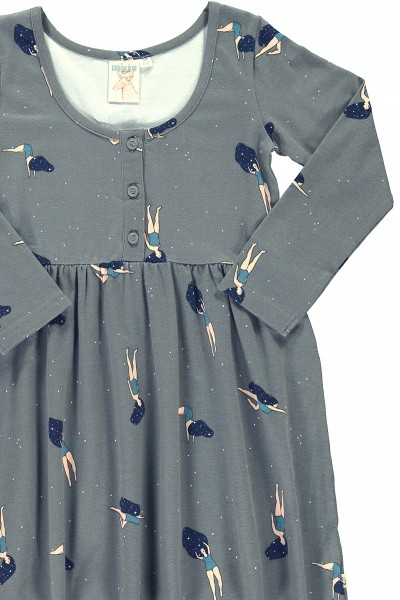 "Grey ""Classic"" dress with ""Dancing in cosmos"" print"