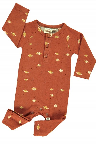 Baby long sleeve jumpsuit in terracotta and Saturn print