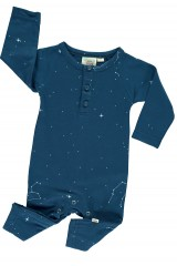 Baby long sleeve jumpsuit in navy blue and constallations print