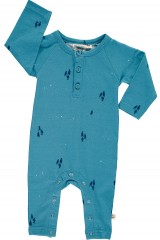 Baby long sleeve jumpsuit in opal blue color