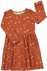 Relax fit dress in terracotta and Saturn print
