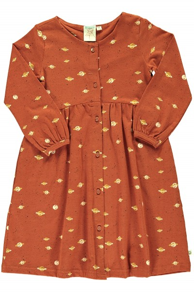 Dress in terracotta and Saturn print