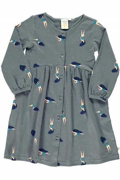 "Oversized dress in grey and ""Dancing in the cosmos"" print"