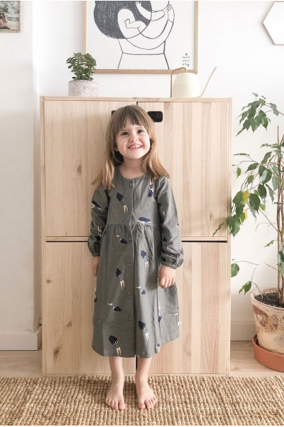 "Dress in grey and ""Dancing in the cosmos"" print"