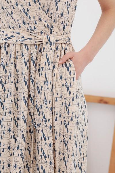 Vestido cruzado ecru-blue Amelie