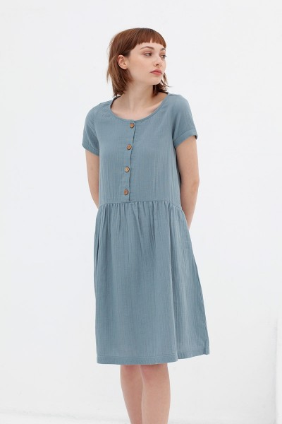 Vestido manga corta azul vintage Almudena
