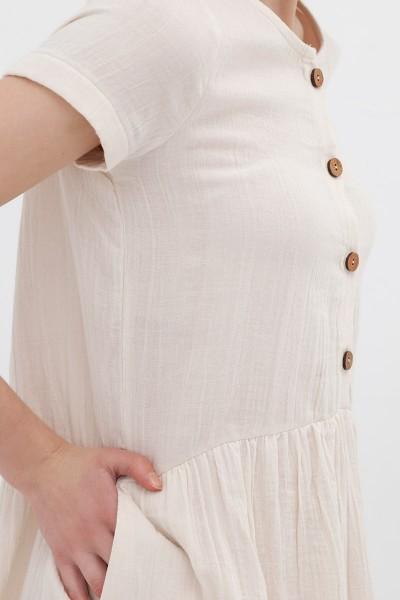 Vestido manga corta crudo Almudena