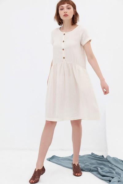 Vestido manga corta color crudo Almudena