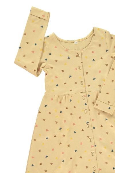 Vestido botones beige estampado triángulos