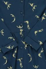 Vestido botones azul marino estampado acróbatas