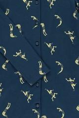 Vestido camisero azul marino estampado