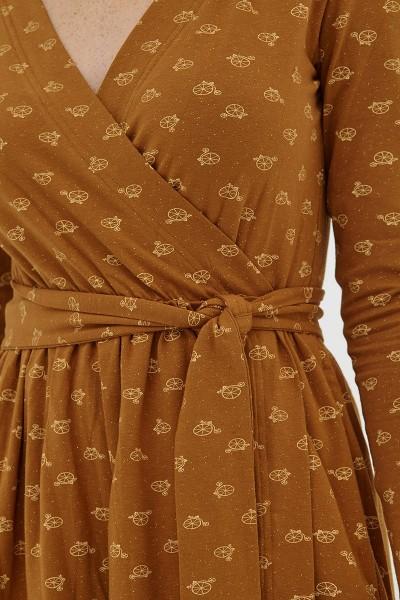 Vestido cruzado marrón Dana