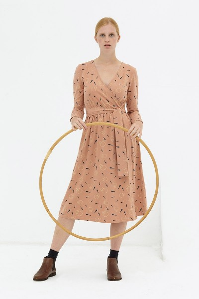 Vestido cruzado rosa pastel Dafne