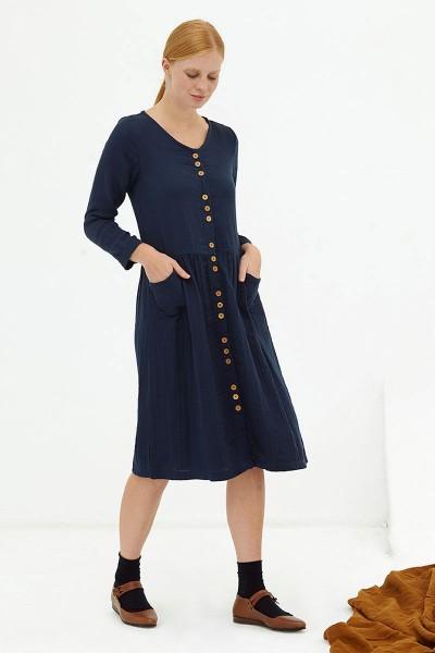 Vestido midi muselina navy Dustyn